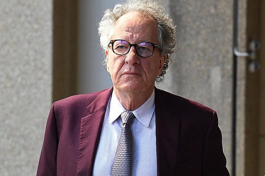 Geoffrey Rush (left) and Eryn Jean Norvill (above) arriving at the Federal Court in Sydney yesterday. The actress said the Oscar winner simulated groping her breasts and stroked her breast in a 2015 production.