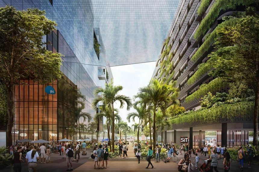 An artist's impression of Punggol Digital District. The smart grid planned for Punggol will be integrated with the open digital platform in the district.