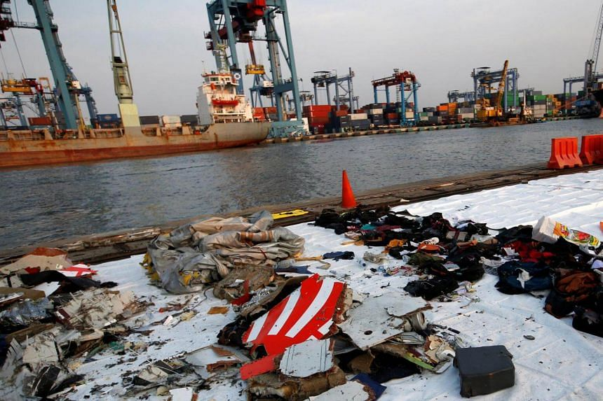 Items recovered from the crash site at Tanjung Priok port in Jakarta, on Oct 29, 2018.