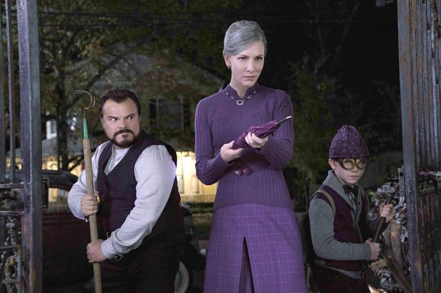 Eli Roth's The House With A Clock In Its Walls stars Jack Black (left), Cate Blanchett and Owen Vaccaro.