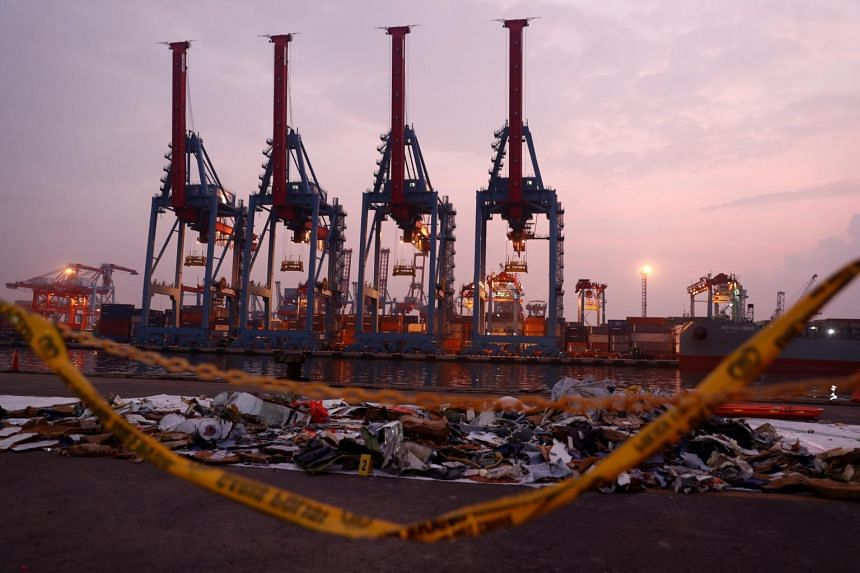 Recovered aircraft debris from the crashed Lion Air flight JT610 are laid out at Tanjung Priok port in Jakarta, on Nov 1, 2018.
