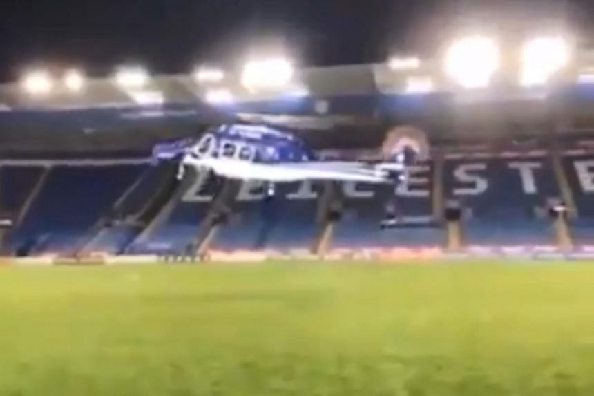 The footage, which has been circulating online, first shows the helicopter making its ascent from the pitch without any issue.