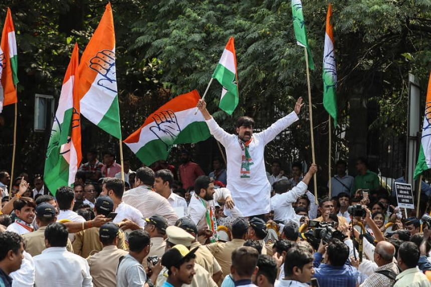 Indian Congress party workers shout slogans during a protest near the Central Bureau of Investigation office in Mumbai, India, on Oct 26, 2018.