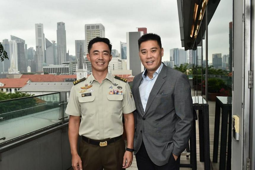 Brigadier-General Chua Boon Keat (left) and Colonel (Retired) Kong Kam Yean led efforts to set up the SMU Warriors Bursary.