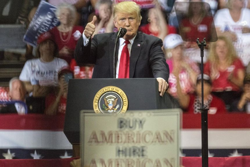 US President Donald J. Trump speaks at a rally in Hertz Arena, Florida, on Oct 31, 2018.