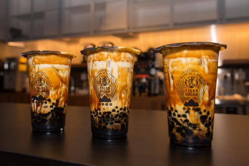 The beverage is crafted from dark brown sugar syrup, fresh milk, cream mousse and dark brown sugar boba pearls of two sizes.