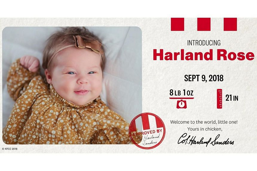 Little Harland Rose, who was born on Sept 9, was named the winner of KFC's baby-naming contest.
