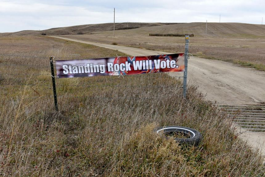 A banner encouraging tribal members to vote in the 2018 mid-term elections on the Standing Rock Reservation near Fort Yates, North Dakota, on Oct 26, 2018.
