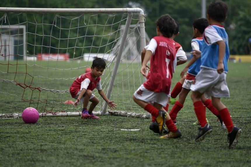 File photo of a football practice session for children under 6 years old at The Arena conducted by JSSL Singapore FC.