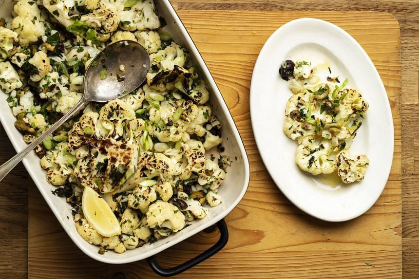 Charred cauliflower with anchovies, capers and olives.