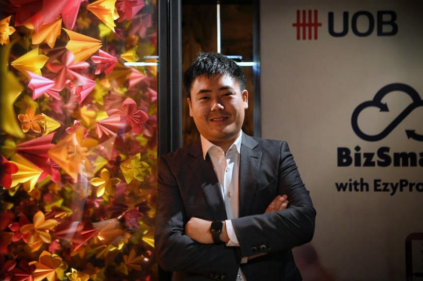 Mr Russell Yu, managing director of Iki Concepts, at the launch of United Overseas Bank's procurement platform EzyProcure, which is part of the bank's cloud-based solution UOB BizSmart.