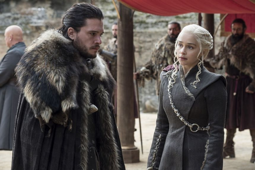 Kit Harrington as Jon Snow and Emilia Clarke as Daenerys Targaryen in HBO's Game Of Thrones.