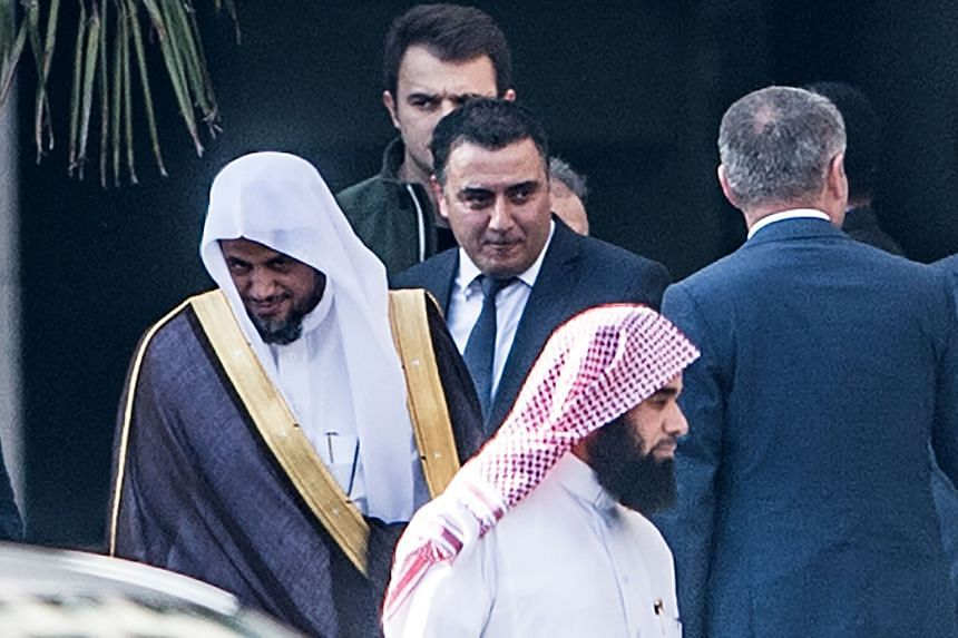 """Saudi Arabia's top prosecutor Saud al-Mojeb (far left) leaving Caglayan courthouse in Istanbul on Tuesday. The visiting Attorney-General did not provide the location of Saudi journalist Jamal Khashoggi's body or identify any """"local collaborator"""" task"""