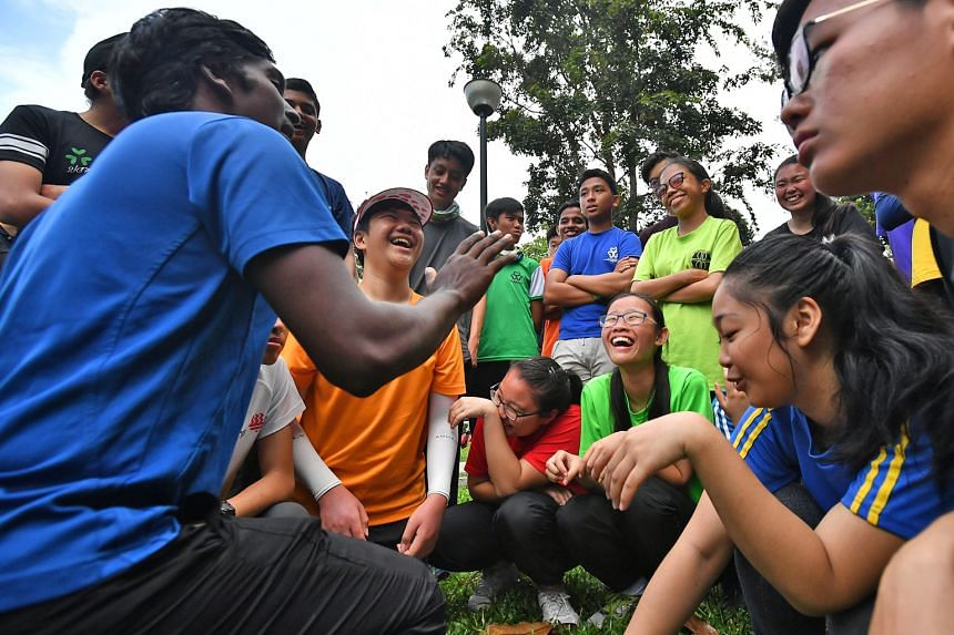 Students attending a briefing session at the OBS Changi Campsite yesterday before setting off for an expedition along heritage trails. They are taking part in a five-day camp co-designed by the Ministry of Education and Outward Bound Singapore. After