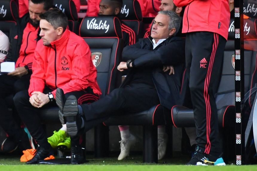 Mourinho reacts during the match.