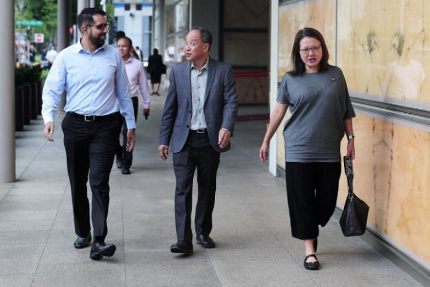 Workers' Party's Pritam Singh, Low Thia Khiang and Sylvia Lim at the Supreme Court on Oct 8, 2018.