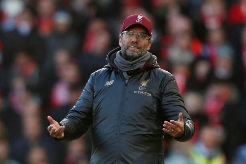 Liverpool manager Juergen Klopp during a match between Liverpool and Cardiff City in Anfield, Liverpool, on Oct 27, 2018.