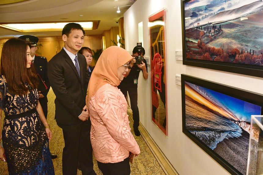 President Halimah Yacob looks at two photo prints by Speaker of Parliament Tan Chuan-Jin. The prints were put up for auction as part of a fund-raising event by the National Cancer Centre Singapore on Nov 3, 2018.