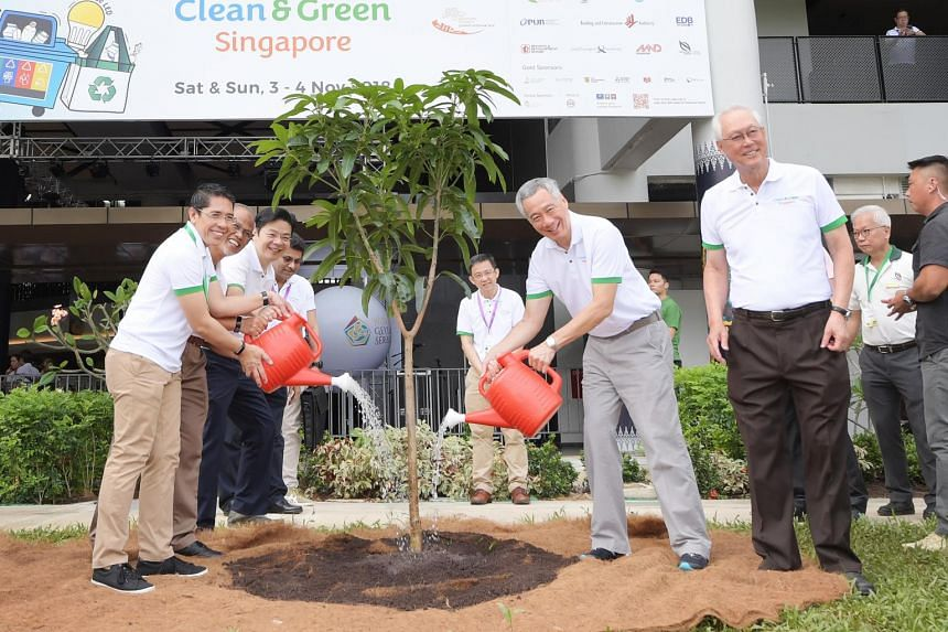 (From left) Senior Minister of State for Defence and Foreign Affairs Mohamad Maliki Osman, Minister for the Environment and Water Resources Masagos Zulkifli, Minister for National Development Lawrence Wong, Prime Minister Lee Hsien Loong and Emeritus