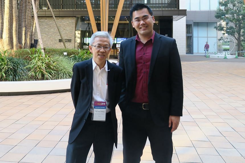 Dr Wong Poh Kam (left), director of the NUS Entrepreneurship Centre, with ProSpace chief executive Steve Ong at the Kashiwa-no-ha smart city in Chiba prefecture, east of Tokyo.