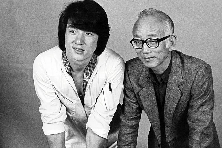 Media mogul Raymond Chow (far right) with Jackie Chan, one of the many actors Mr Chow has been credited with grooming.