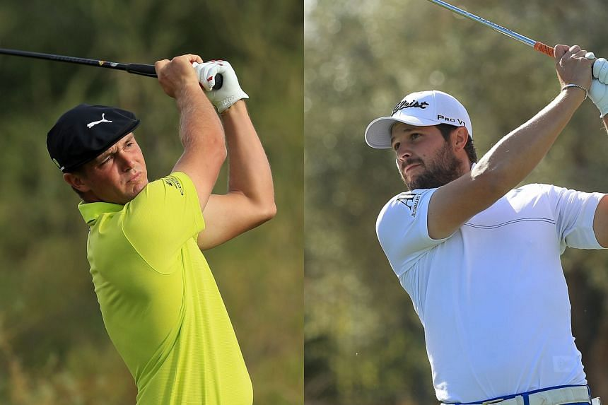 Bryson DeChambeau (left) birdied four of his final six holes, including the last, to shoot six-under 65 and join fellow American Peter Uihlein (right) atop the TPC Summerlin leaderboard at 16-under 197.