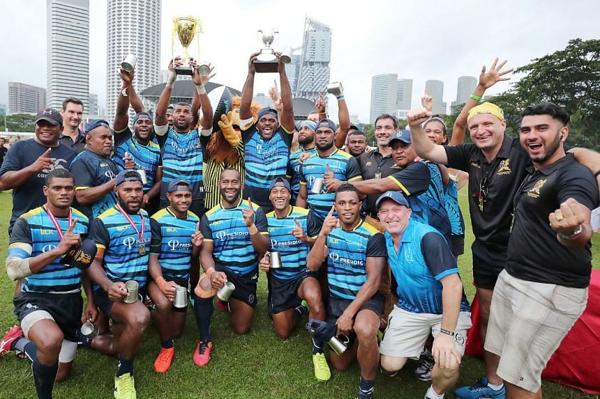 Daveta celebrate winning the Ablitt Cup after a 24-17 win against Casuarina Cougars at the Padang on Nov 4, 2018.