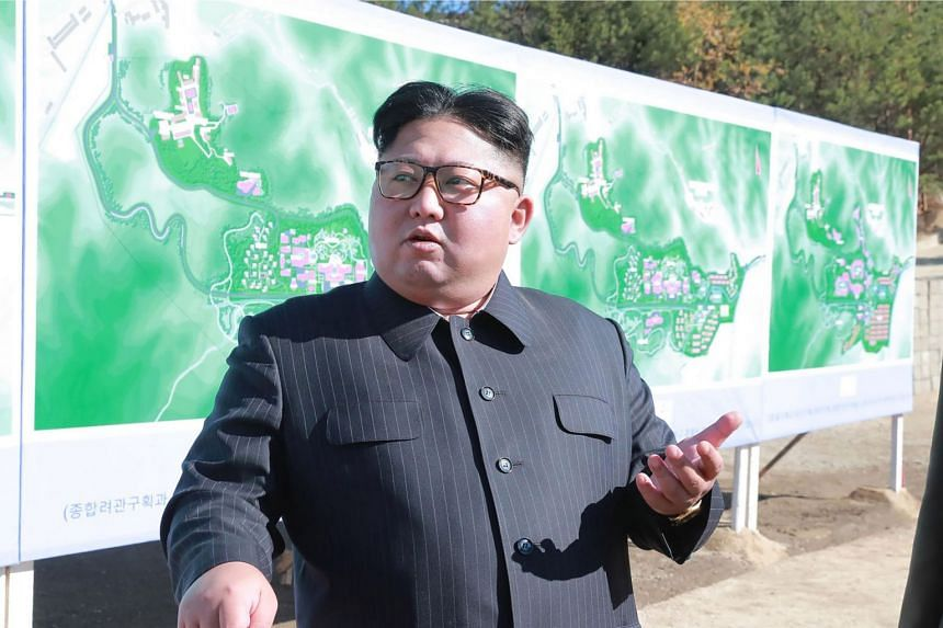North Korean leader Kim Jong-Un inspects the construction site of the Hot Spring Tourist Area in Yangdok County, South Phyongan Province.