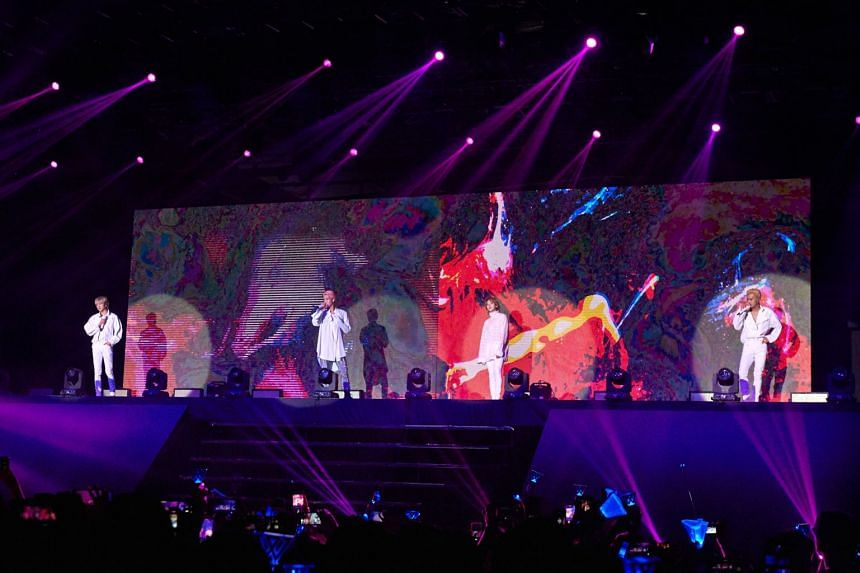 K-pop boyband Winner members (from left) Yoon, Hoony, Jinu and Mino performing at The Max Pavilion on Saturday (Nov 3).