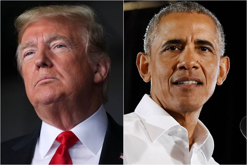 US President Donald Trump mentioned former President Barack Obama by name several times during his rally in Macon, Georgia, on Nov 4, 2018.