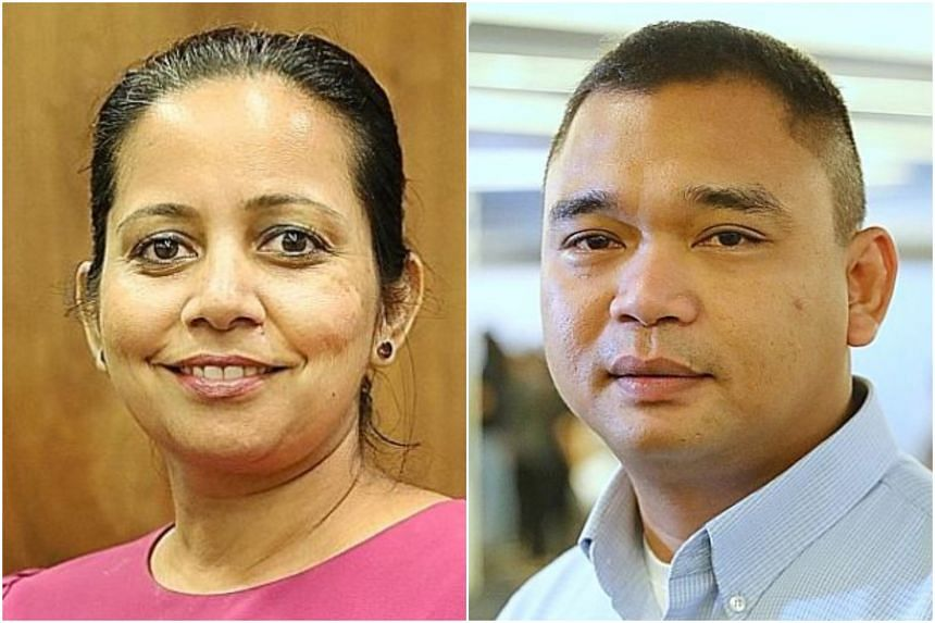 Mrs Smitha Venkatesh (left) and Mr Juhari Abdul Karim were held up by Health Minister Gan Kim Yong as having been positive influences on their families and community in their fight against diabetes.