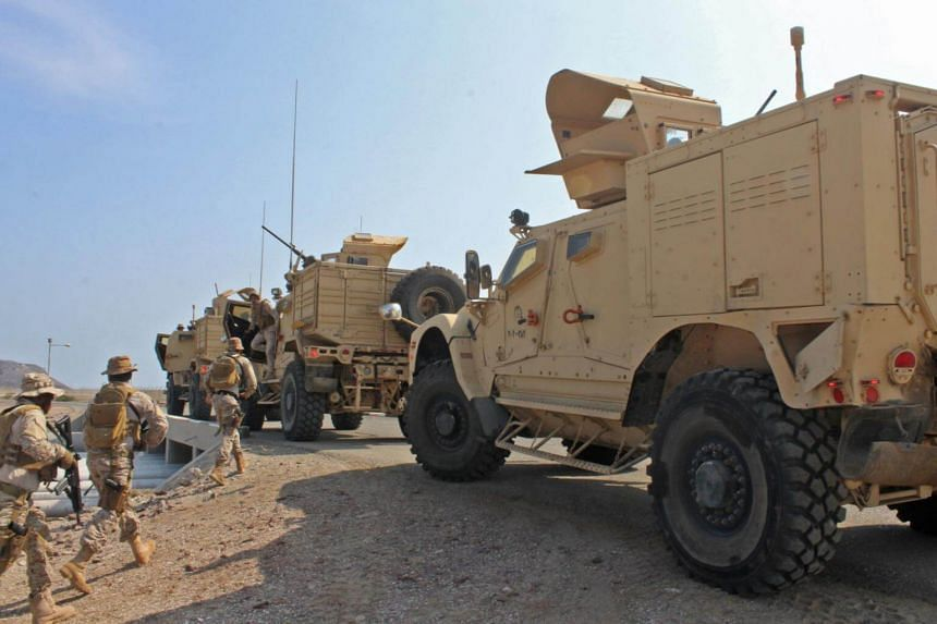 Soldiers loyal to Saudi-led coalition forces are seen in the southern Yemeni port of Aden, on Oct 29, 2018.
