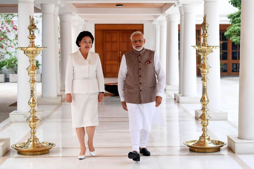 India's Prime Minister Narendra Modi with the First Lady of South Korea, Mrs Kim Jung-Sook, in New Delhi on Nov 5, 2018.
