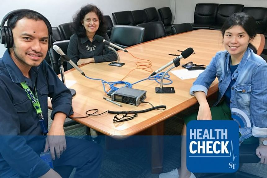 Dr Kalpana Bhaskaran (centre), head of the Glycaemic Index Research Unit at Temasek Polytechnic, and VP of Diabetes Singapore, tackles dieting issues and tips with Health Check podcast hosts Ernest Luis (left) and ST's Linette Lai (right).