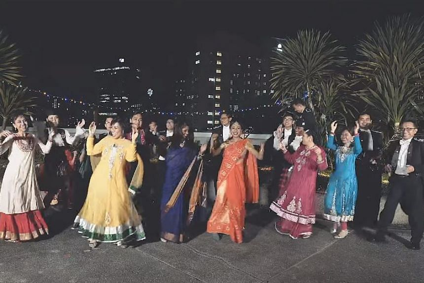 In a video over 2 minutes, police officers can be seen singing and dancing - in uniform and traditional Indian garb - to a remixed Tamil song.