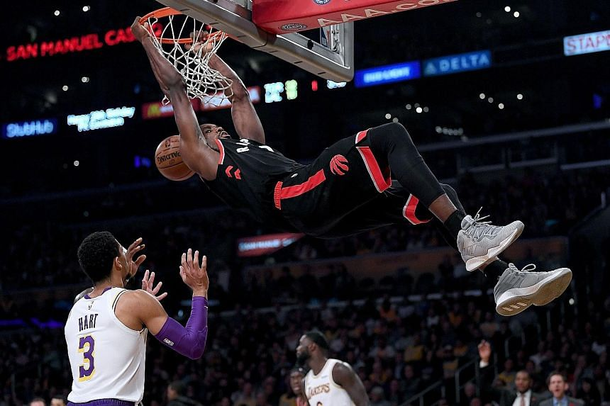 Serge Ibaka scored 20 of his career-high 34 points in the first quarter as the visiting Toronto Raptors got off to a 42-17 start against the Los Angeles Lakers on Sunday. The Congo-born forward made 15-of-17 shots, feasting all night on easy opportun
