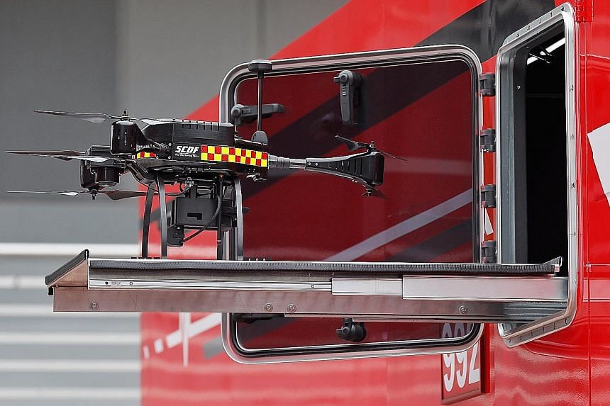 The Hazmat Control Vehicle that the SCDF is deploying at the upcoming Asean Summit is equipped with drones (left) to detect hazardous substances. Hazmat specialists inside the vehicle can also monitor the atmosphere for chemicals and conduct tests fo