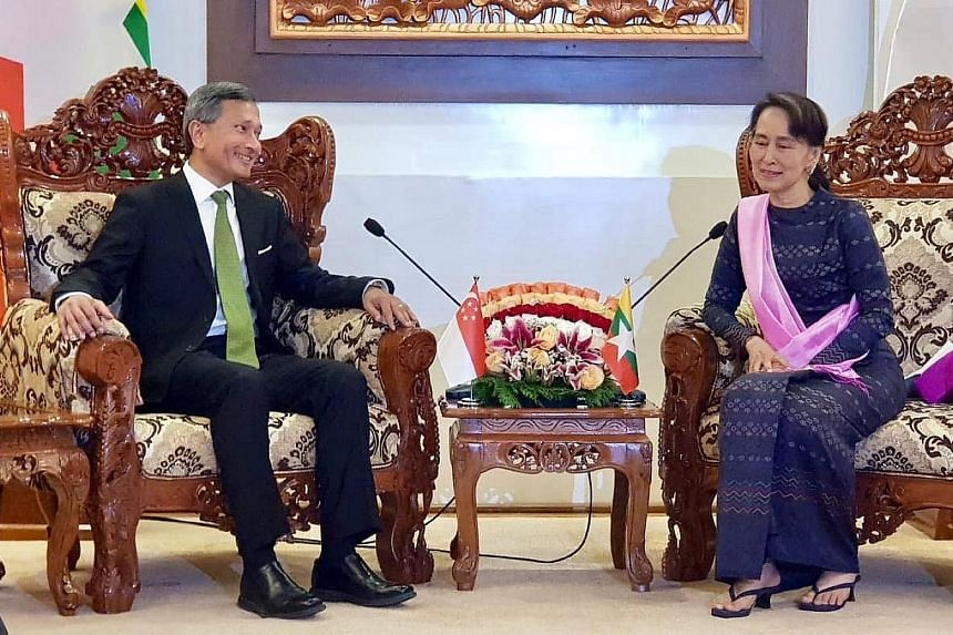 Dr Balakrishnan with Myanmar State Counsellor Aung San Suu Kyi in Naypyitaw yesterday. He said they both agreed that the priority was to ensure the displaced communities return in a voluntary, safe and dignified manner. Foreign Minister Vivian Balakr