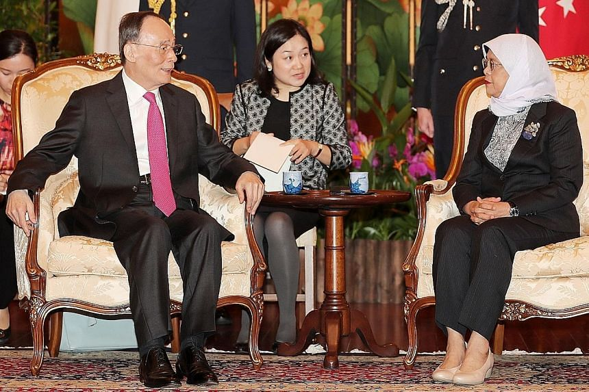 Chinese Vice-President Wang Qishan called on President Halimah Yacob at the Istana yesterday. In a statement issued last night, the Ministry of Foreign Affairs (MFA) said Madam Halimah and Mr Wang reaffirmed the close and longstanding relations betwe