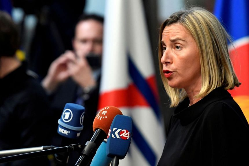 """European Union foreign policy chief Federica Mogherini in Brussels on Oct 18, 2018. She vowed to maintain """"effective financial channels with Iran"""" to ensure Iran's export of oil and gas continues."""