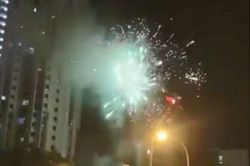 Bursts of fireworks exploding in the skies along Gloucester Road, near Little India, were spotted by a police officer.