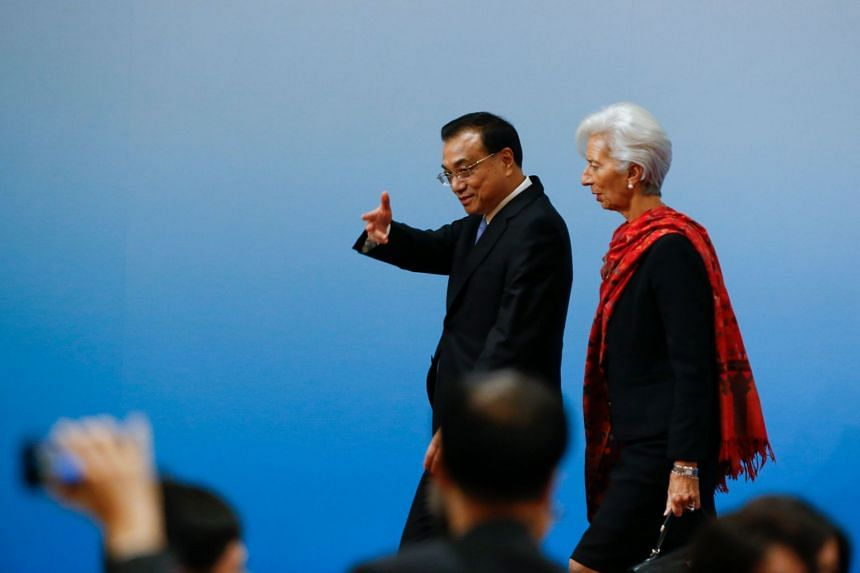 Chinese Premier Li Keqiang and International Monetary Fund chief Christine Lagarde after the third edition of an annual roundtable meeting in Beijing on Nov 6, 2018.