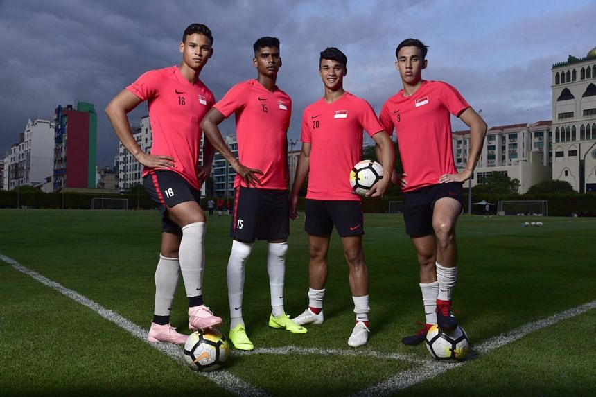 (From left) Irfan Fandi, Iqbal Hussain, Ikhsan Fandi and Jacob Mahler form the youthful quartet that hopes to impress and forge long careers in the red shirt.