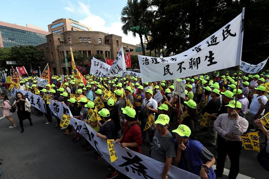 Taiwanese fishermen holding a protest in Taipei, on Nov 6, 2018.