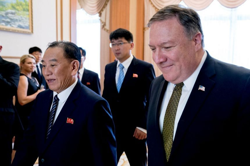 File photo of North Korean senior ruling party official and former intelligence chief Kim Yong Chol (left) and US Secretary of State Mike Pompeo at a lunch at the Park Hwa Guest House in Pyongyang, North Korea, on July 7, 2018.