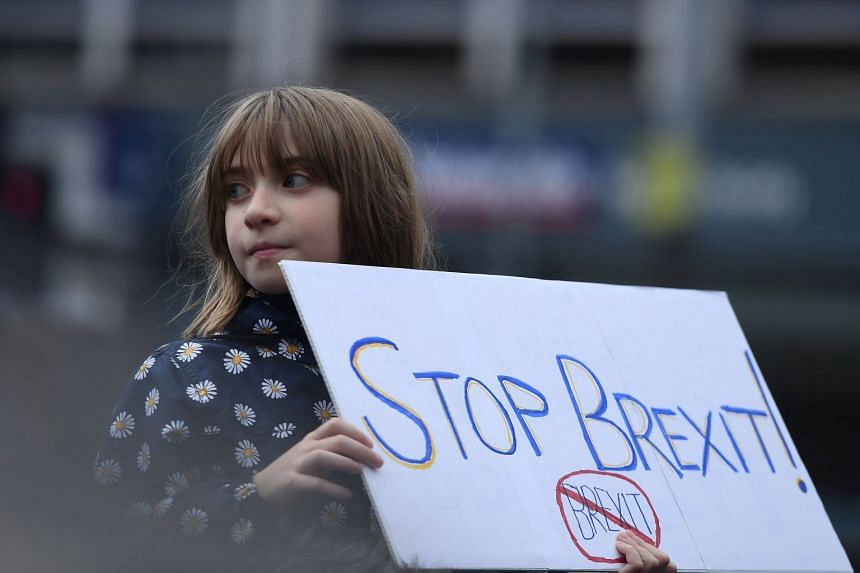 Protesters participate in an anti-Brexit demonstration in central Belfast, Northern Ireland.