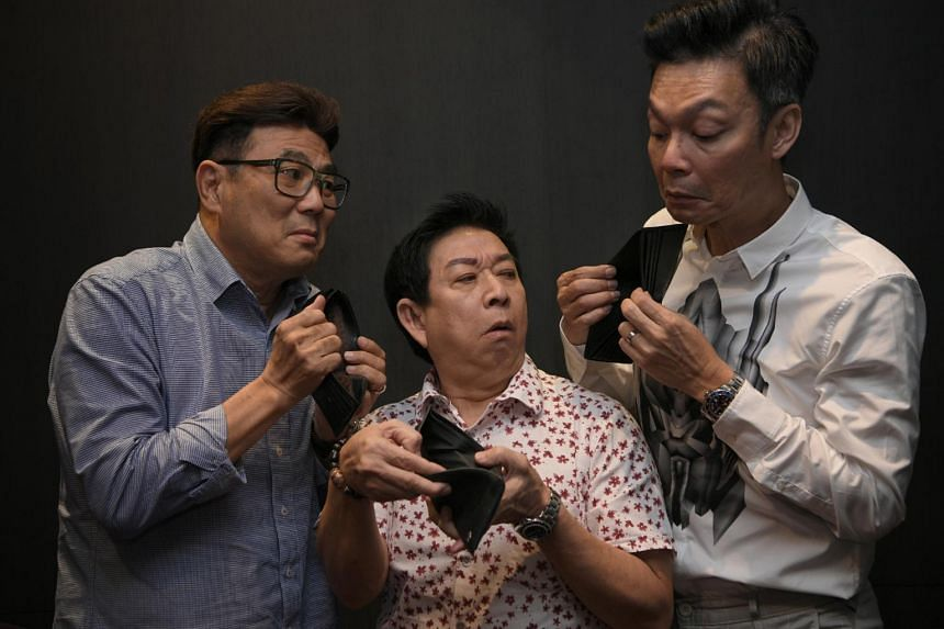 (From left) Actors Jack Neo, Henry Thia and Mark Lee, co-stars of Money No Enough, on Nov 3, 2018. The film achieved box-office takings of over $5.8 million here in 1998.