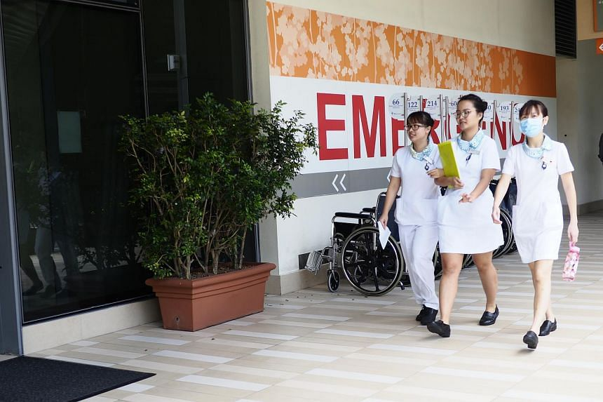 Nurses walking past the emergency department of Khoo Teck Puat Hospital. The Ministry of Health said that the changes in MediShield Life coverage will not result in premium increases.