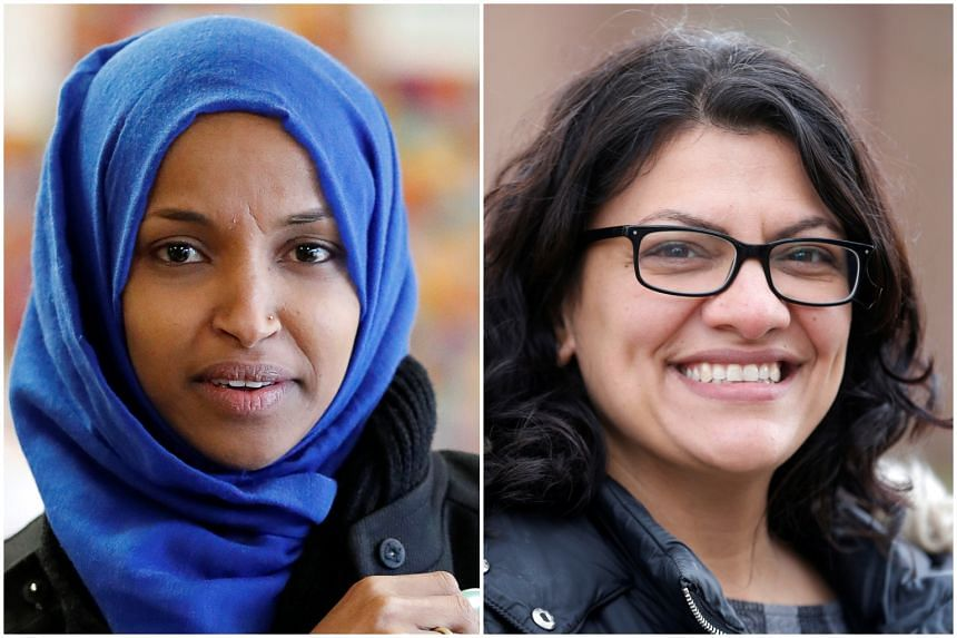 The victories by the two Democrats - Ms Ilhan Omar (left) and Ms Rashida Tlaib - came on an election night when members of multiple minority groups had a chance to score electoral firsts.