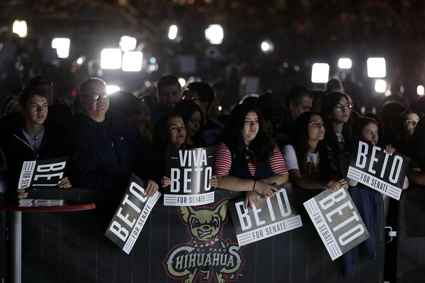 "Supporters at a ""thank you"" party for Democrat Beto O'Rourke in El Paso, Texas on Nov 6, 2018. He lost a high-profile battle against incumbent senator Ted Cruz by a thin margin."